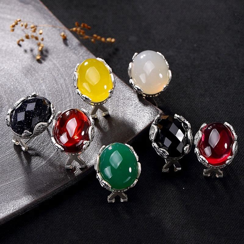 2018 New 925 Sterling Silver Phoenix Chalcedony Agate Garnet corundum Fashion Stud Earrings Women Jewelry Birthday Gift