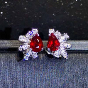 18k gold South Africa real diamond natural unheated pigneon blood red ruby stud earring for women