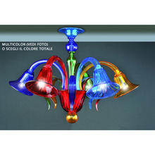 Ceiling light 5 lights in Murano glass multicolor made in italy