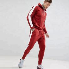 custom logo mens track suits red plain side stripe sport hooded sweat suits