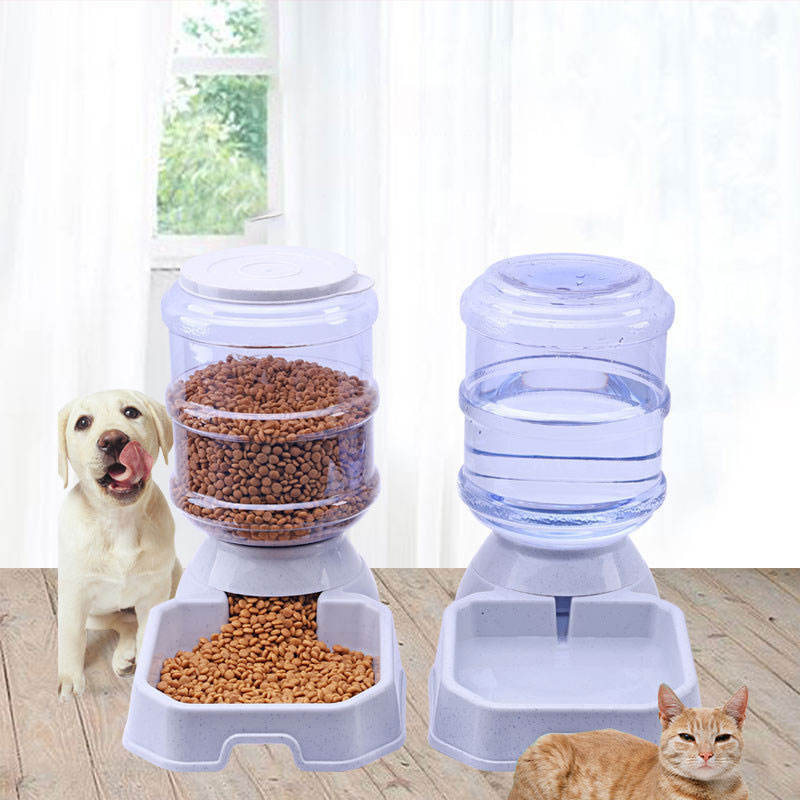 Rounded [ Pet Automatic Feeder ] Plastic Pet Cat Dog Pet Cat Bowl Dog Bowl Automatic Feeder Water Feeder Water Dispenser Drinking Water
