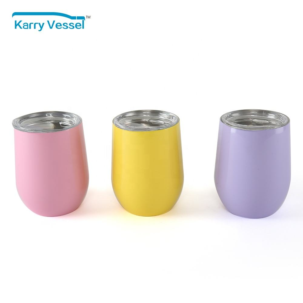 Stainless Steel Novelty Wine Tumbler with Lid, Double Wall Stemless Metal Cup tumbler wine glass