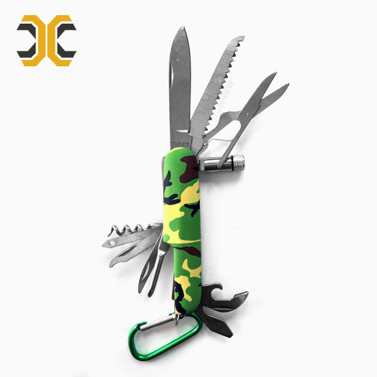 Free Sample camouflage color pocket knife multi tool with led light and carabiner