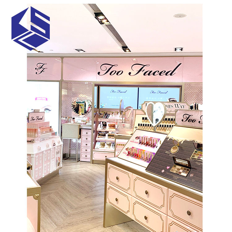 Perfume shop design cosmetic display shelves for wholesale
