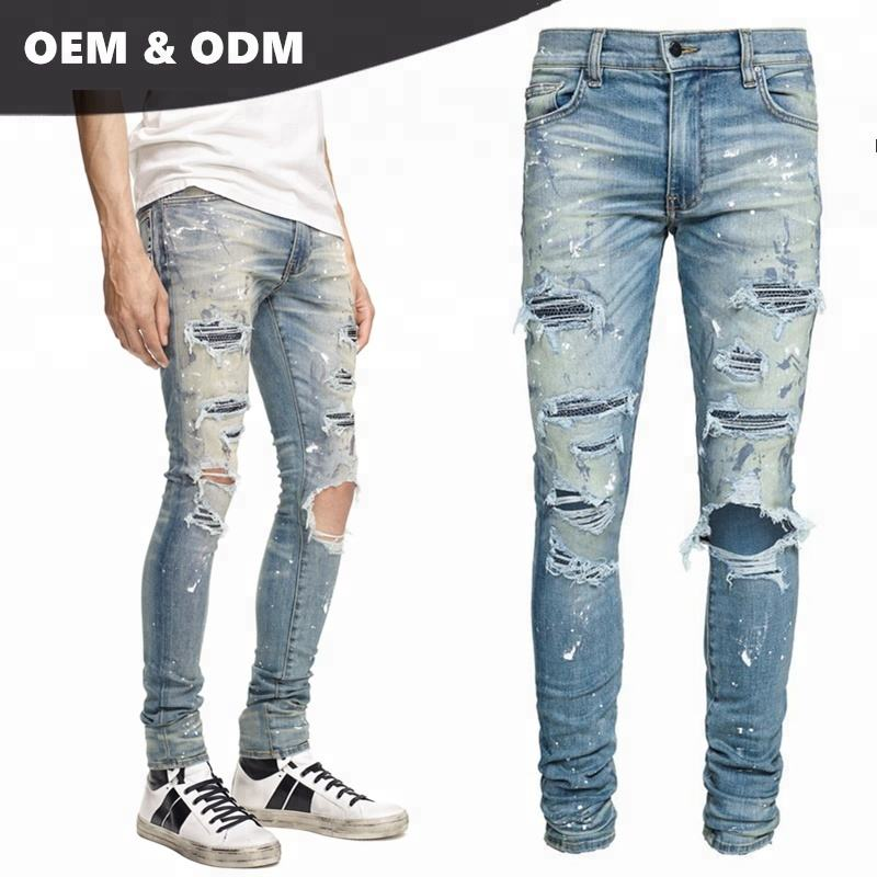 men jeans yiwu demand Crystal painter destory jeans classic indigo