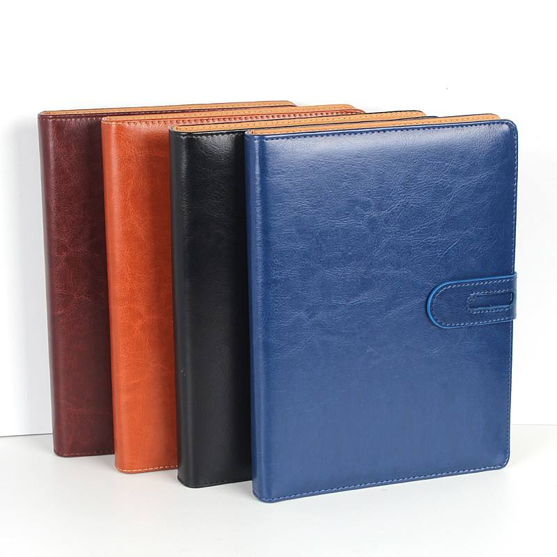 High quality pu leather corporation embossing logo office use notebook
