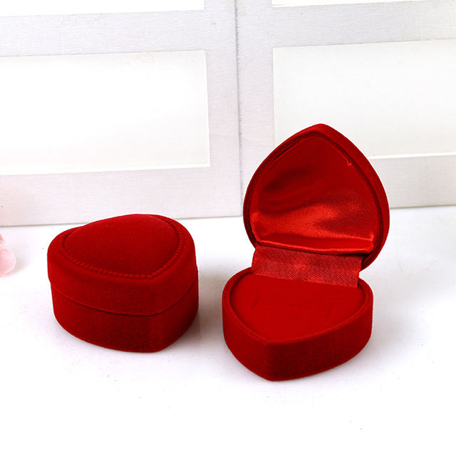 High end heart velvet jewelry box pendant ring earrings flocking jewelry gift case wholesale