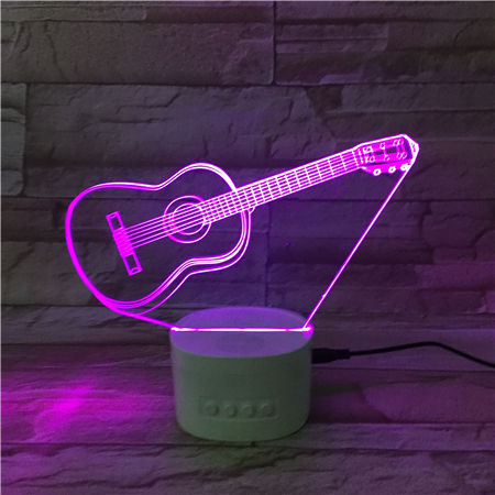 Portable Wireless 4.0 Speaker 3D Night Light Guitar Design Led Color Changing Dimmable Touch Control Bedside Table Lamp