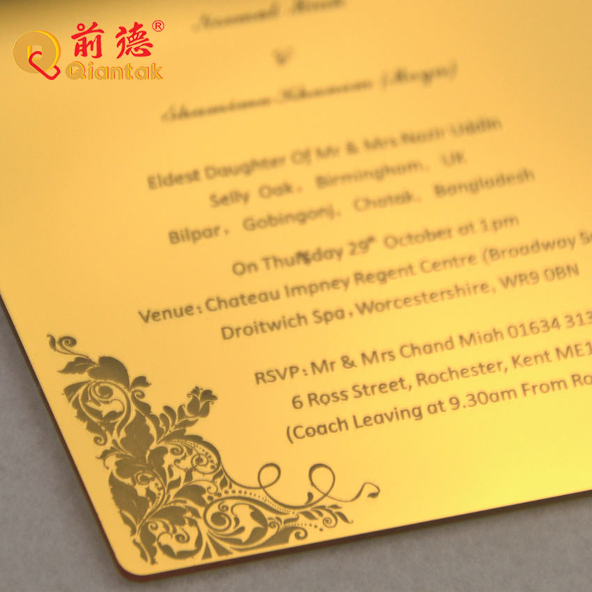 Wholesale High Quality Custom Laser Cut Acrylic Gold Wedding Invitation with Silk Printing