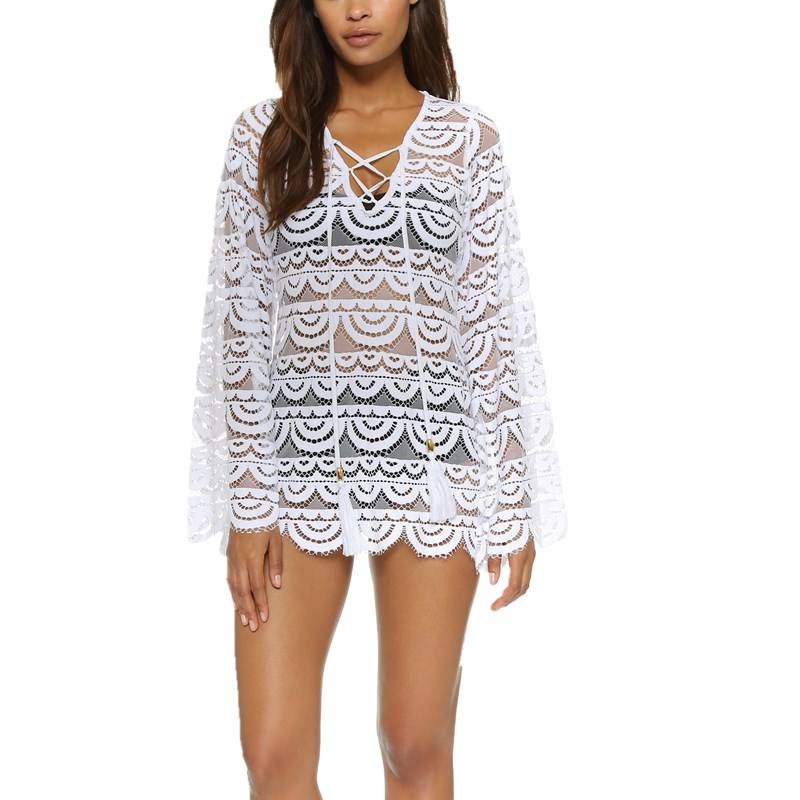 New fashion long sleeve sheer tunic womens lace cover-up tunic tops