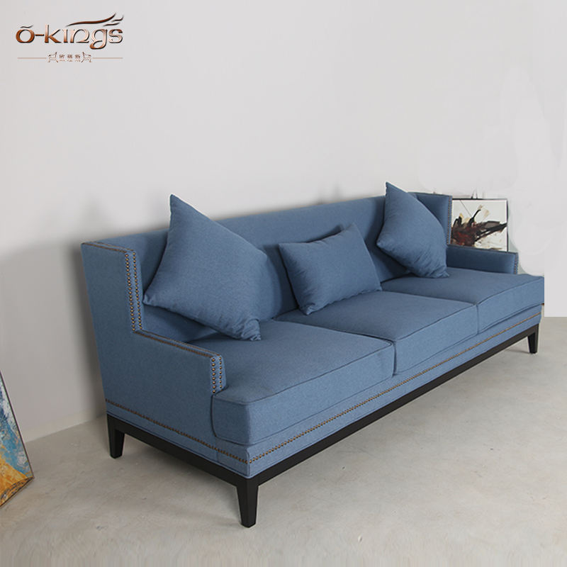 Hotel kayu Ruang Tamu Kain Sofa Furniture 3 Seater Sofa