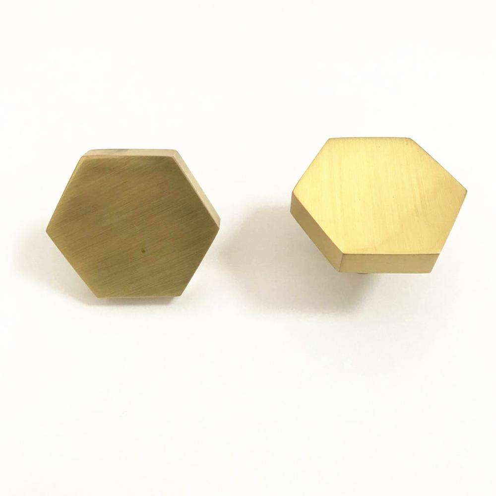 2019 new style fancy rose gold and brush brass color cabinet furniture dresser hexagon knob pull