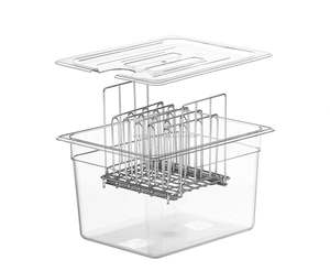 Good quality stainless steel sous vide rack with plastic container