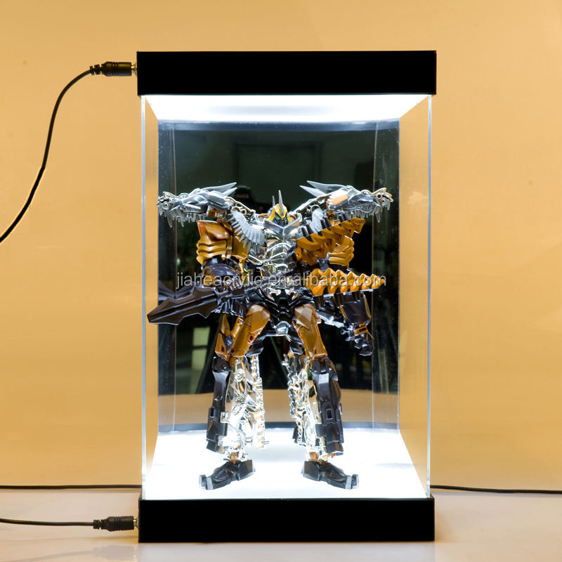 Perspex/organic glass led light clear acrylic box display case for action figure display