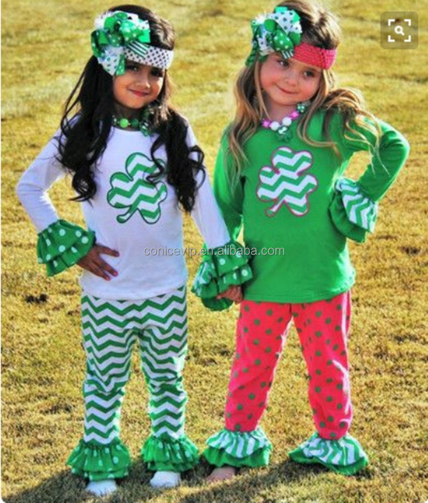 Baby Girls 2 Piece Sister Suit Cotton Clover Shirt Skirt Set Wholesale Saint Patrick's Day Boutique Clothing set