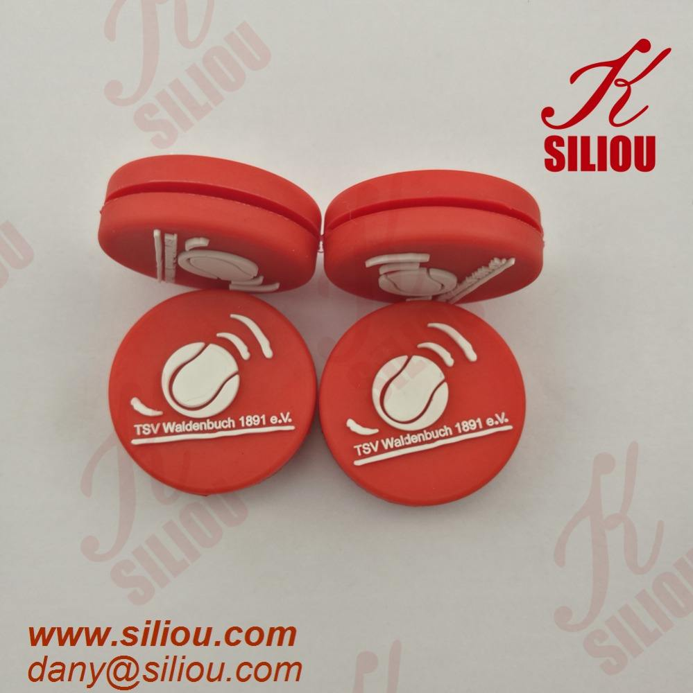 high quality soft colorful embossed logo customized silicone tennis vibration dampener