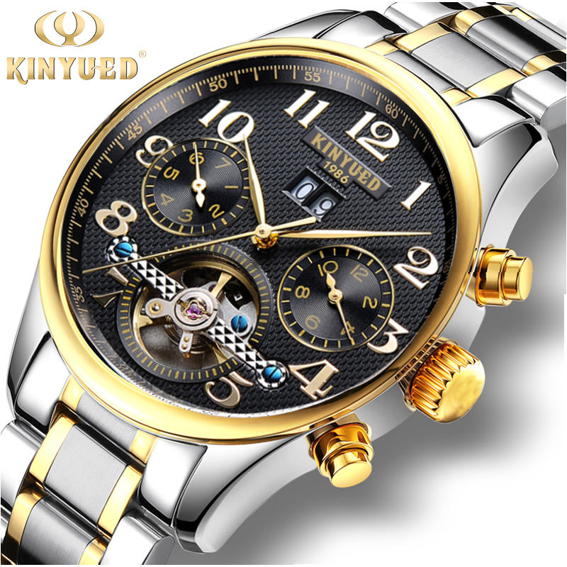 KINYUED J013 Men's Automatic Mechanical Hand Watch Stainless Steel Auto Day Watch