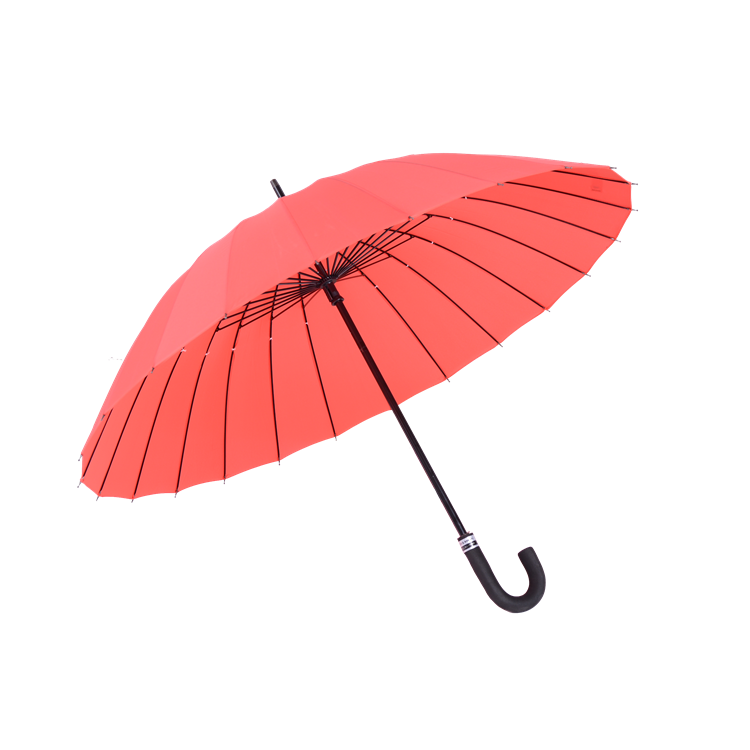 "Oem service professional 23""*24K 190t pongee red hands open the rod straight discount rain umbrellas"