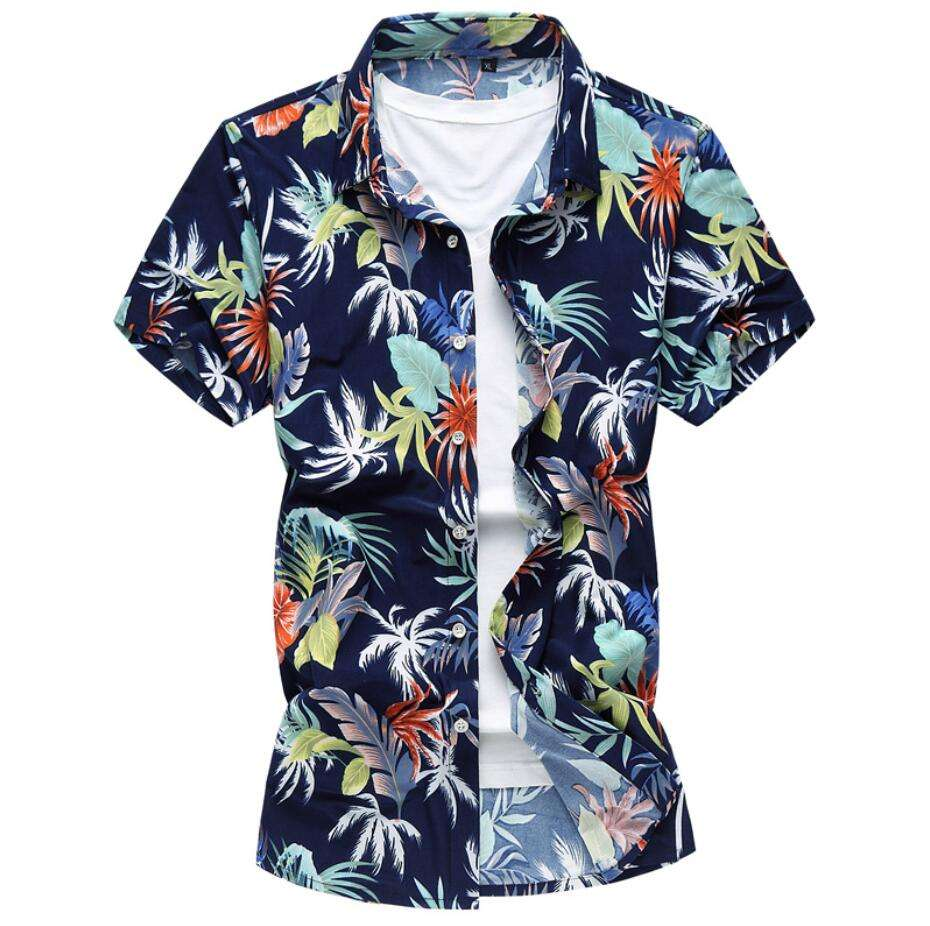 custom-made fashion printed short sleeve men's hawaii shirt