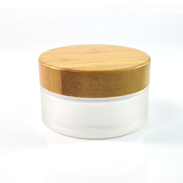 Cosmetic 5ml 15ml 30ml 50ml 100ml clear frosted glass jar with bamboo wood lid for body cream