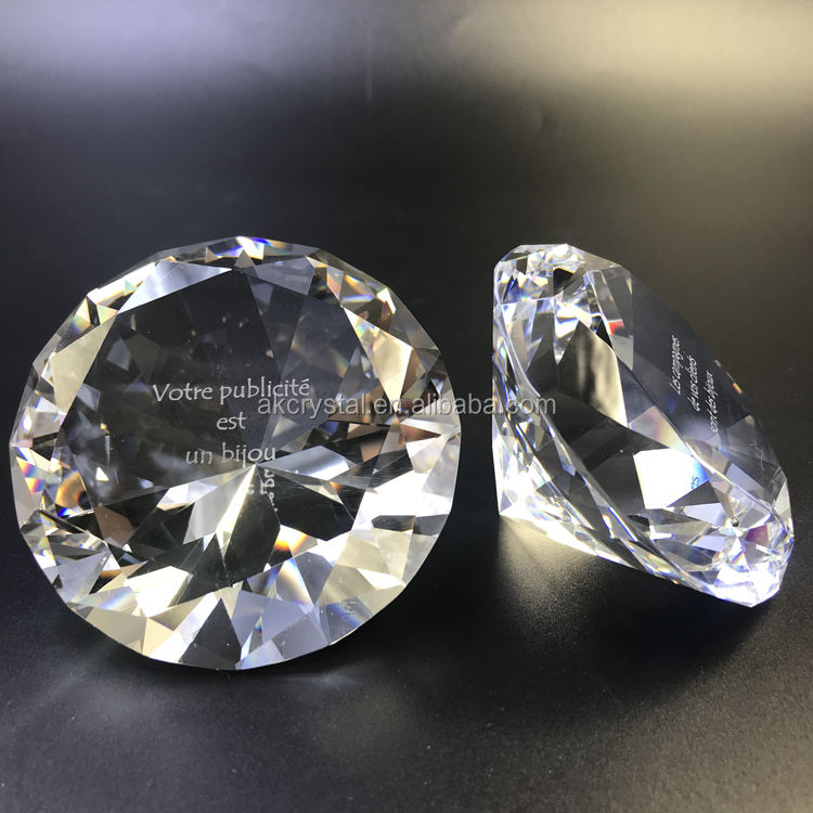 Wholesale souvenir paperweight type decorative crystal glass diamond