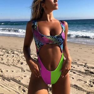 Leopard print neon color sexy colorful swimsuit one piece bathing suit beach wear
