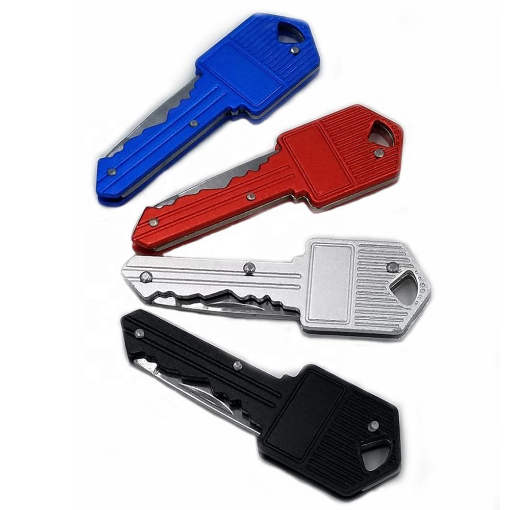 High quality Personal defense keychain,Folding pocket knife metal colourful key shaped keychain knife