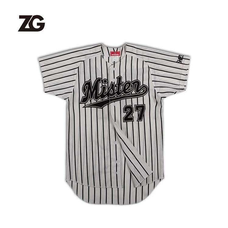 7 years experiences High Quality Custom Mens Women Fashion Striped Baseball Jersey Applique Embroidery Customized