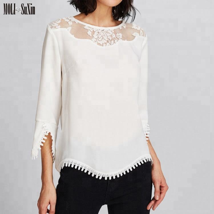 MOLI Hot Sale Fancy White Lace New Design Blouses For Woman