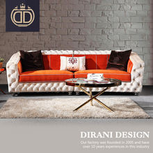 2 seater furniture living room sectional sofa set modern big American style orange and white leather or fabric tufted sofa