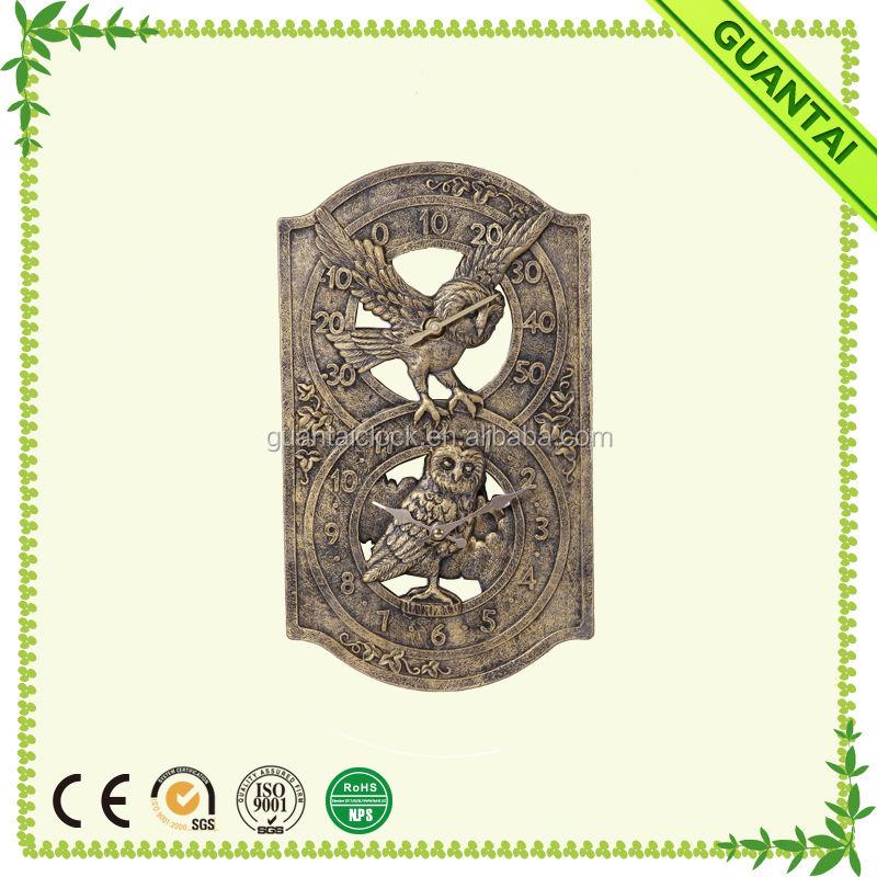Un Effet Bronze Hibou Conception <span class=keywords><strong>Horloge</strong></span> et Thermomètre avec Feuille de Lierre Détail pour Décor
