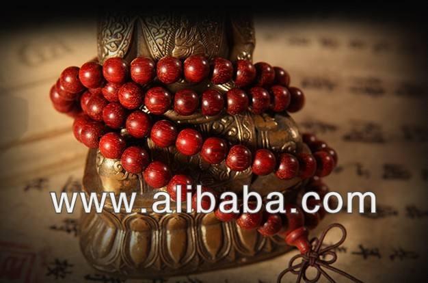 The Indian lobular rosewood bead bracelet 108 gold red sandalwood
