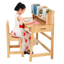 Wooden study desk and table for children and kids with book shelf and drawer