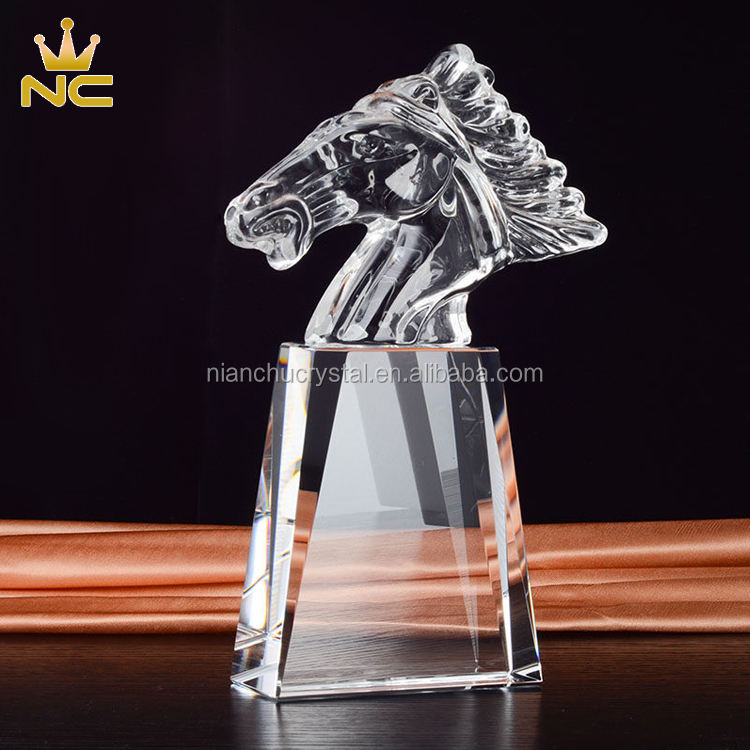 High Quality Crystal Horse Head Award For Team Spirit Trophy Figurines