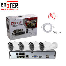 4CH 2MP Wired IP Surveillance Security Camera Cctv System PoE NVR Kit 1080P