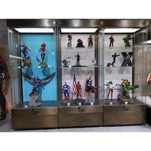 Big museum display cabinet with tempered glass  and   Korea figure  museum display case