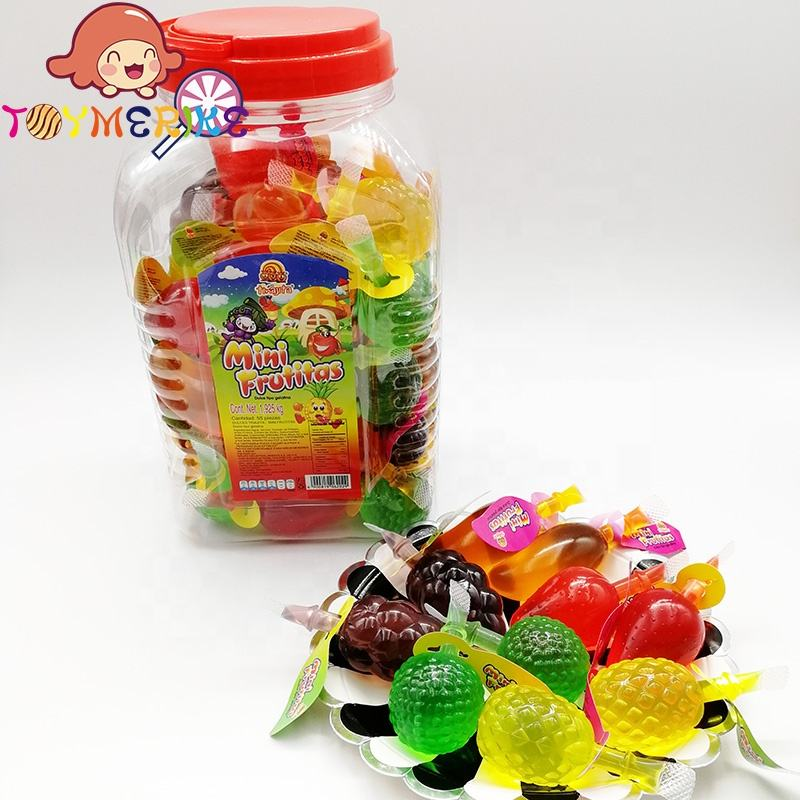 Jar Packaging Assorted Fruit Shape Yummy Soft Jelly Drink Candy