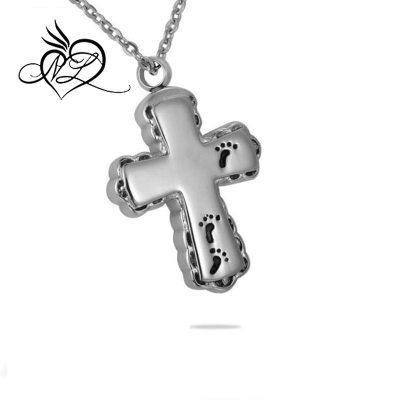 Footprint on Cross Charm Cremation Jewelry Ashes Pendant Keepsake Memorial Urn Necklace