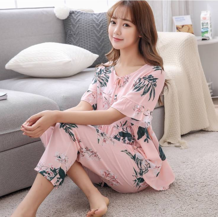 zm40813c new style 2018 female sleepwear pure cotton short sleeve women pajamas long leg pant lady sleepwears