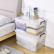 Customized color available transparent clear home wholesale plastic pp storage case bin container box with lid