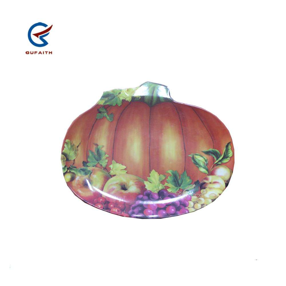 "2019 Thanksgiving day Hot sales 12"" plastic melamine pumpkin plate vegetable tray plastic dishes for Halloween"