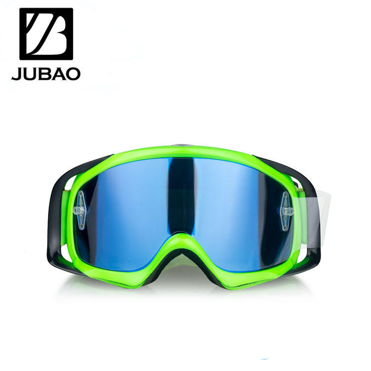 Tear Off Motocross Goggles Neon Green Frame Polarized Lens Adjustable Strap Tear Off Motocross Goggles