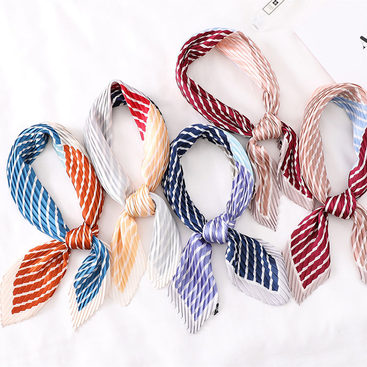 2019 Winter Custom Square Satin Silk Pleated Scarf Women Fashion Color Printed Striped Ladies Hair Scarves Wholesale