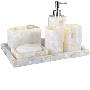 wholesale 5 set Bathroom Accessories Set Natural Mosaic Shell