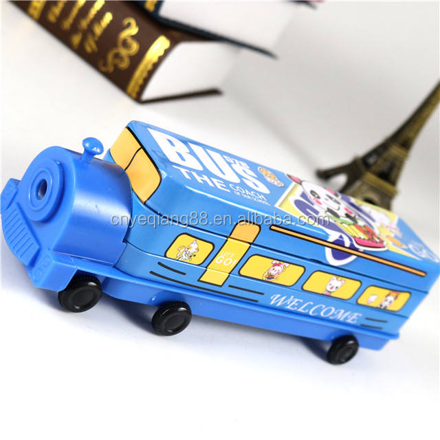 Creative colorful promotion pencil packaging tin box Custom cool coloring metal tin train shape pencil case