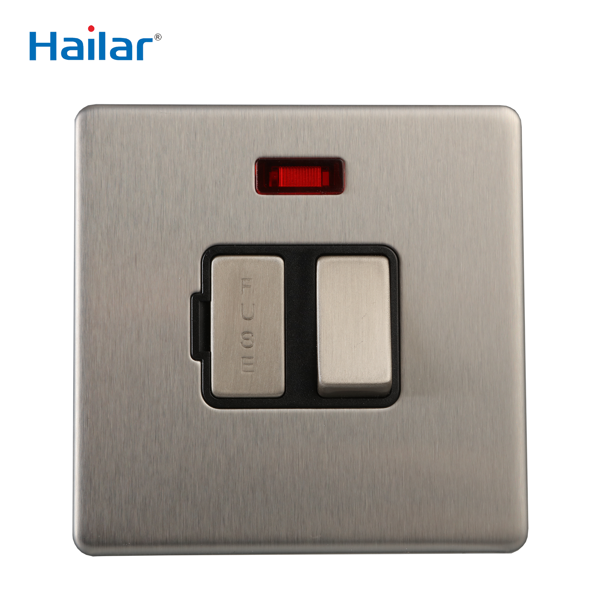 Hailar brushed chrome screwless plate 13A switched FUSE with flex outlet neon light indicator