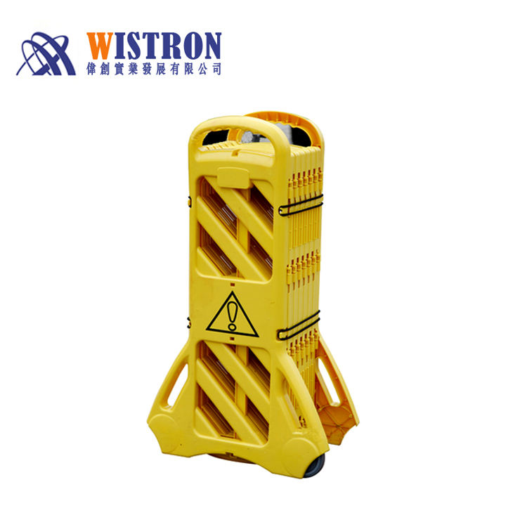 Road Plastic Retractable Expanding Portable Fence Barrier With Yellow