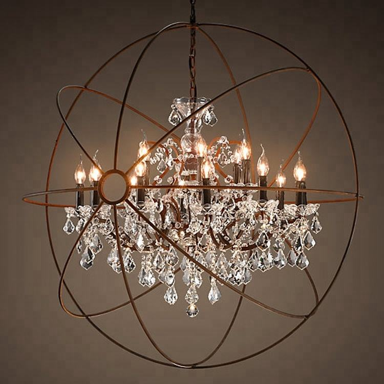 Modern Vintage Orb Crystal Chandelier Lighting Rustic Candle Chandeliers Pendant Hanging Light for Home Hotel Decor CZ2518/18