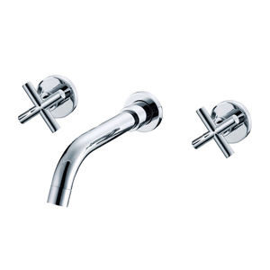Guangdong Bathroom 3 Hole Old Wall Mount Bathroom Basin Taps Faucet with stainless steel hose