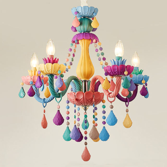 European fashion chandelier colored glass candle crystal luxury pendent lamp modern children bedroom celling light
